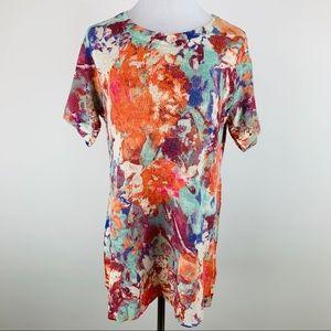 Soft Surroundings Floral Short Sleeve Sweater Sz L